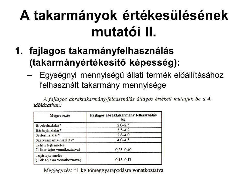 A takarmányok értékesülésének mutatói II. 1.fajlagos takarmányfelhasználás (takarmányértékesítő képesség): –Egységnyi mennyiségű állati termék előállí
