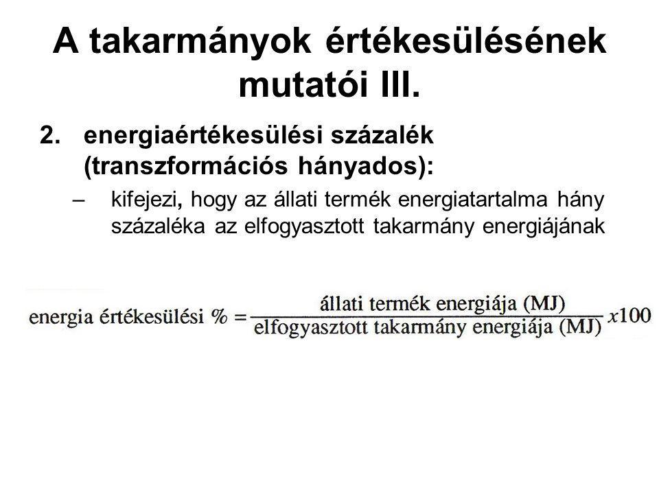 A takarmányok értékesülésének mutatói III. 2.energiaértékesülési százalék (transzformációs hányados): –kifejezi, hogy az állati termék energiatartalm