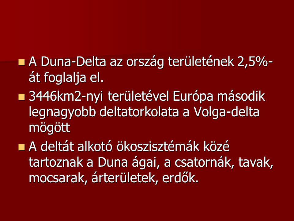 A Duna-Delta az ország területének 2,5%- át foglalja el.