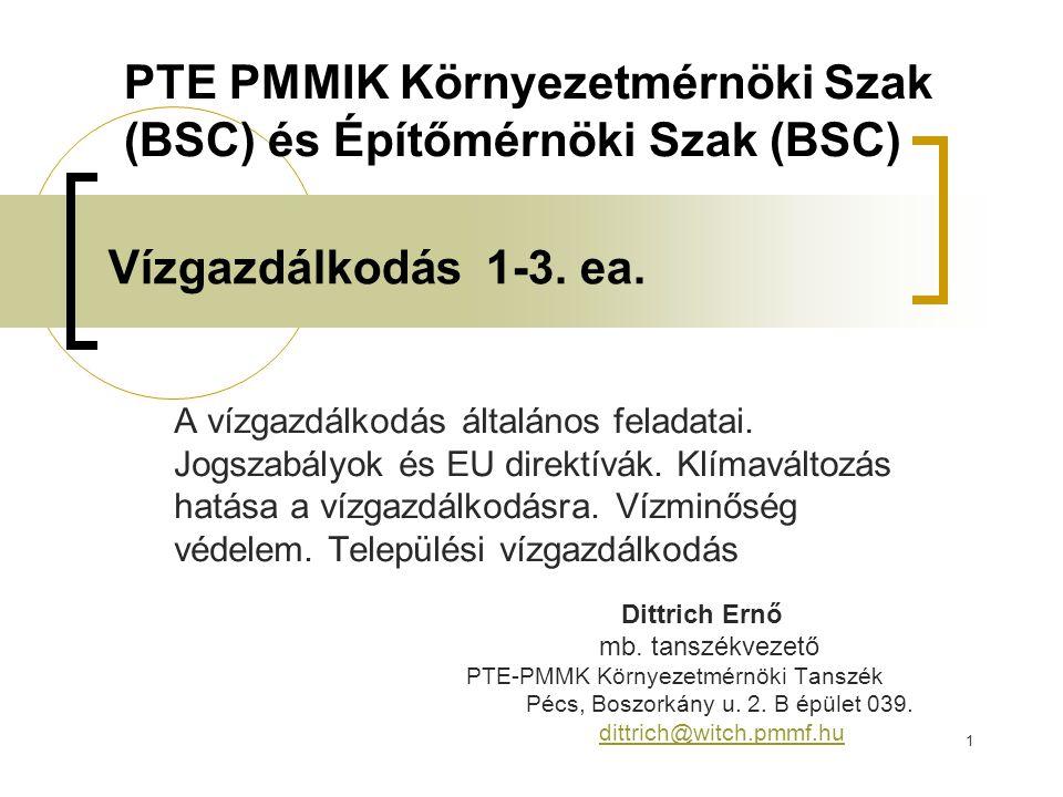 92 Kötelező irodalom Varga Tamás: Vízgazdálkodás 2011 (digitális jegyzet) Dr.