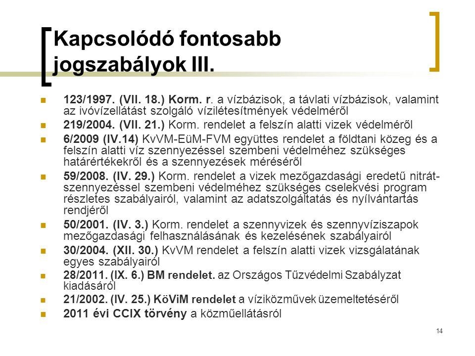 14 Kapcsolódó fontosabb jogszabályok III.123/1997.