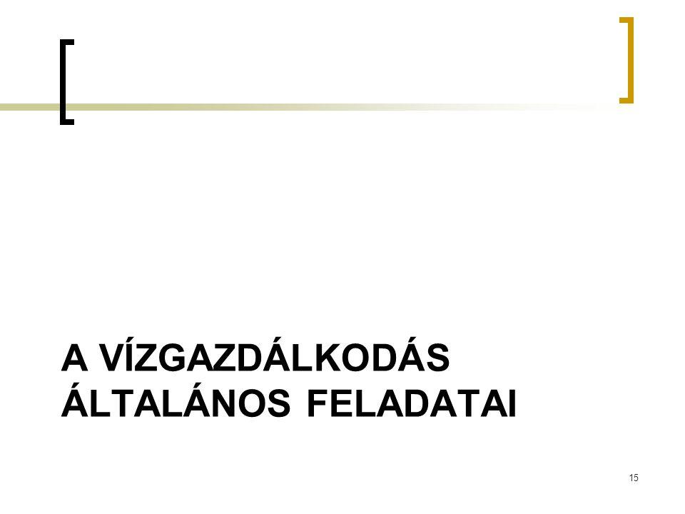 A VÍZGAZDÁLKODÁS ÁLTALÁNOS FELADATAI 15