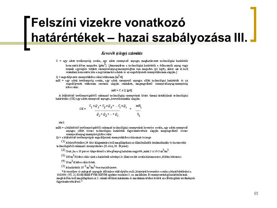 65 Felszíni vizekre vonatkozó határértékek – hazai szabályozása III.