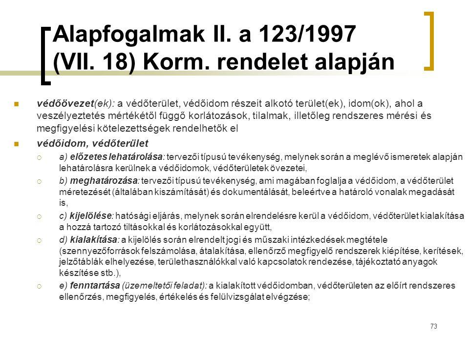 Alapfogalmak II.a 123/1997 (VII. 18) Korm.