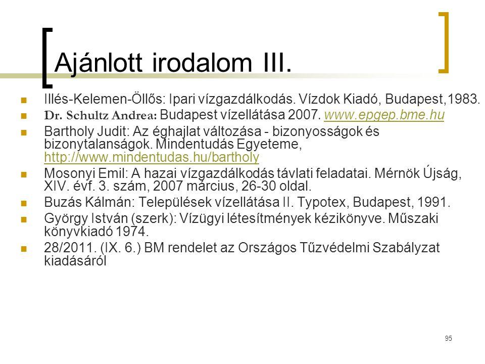 95 Ajánlott irodalom III.Illés-Kelemen-Öllős: Ipari vízgazdálkodás.