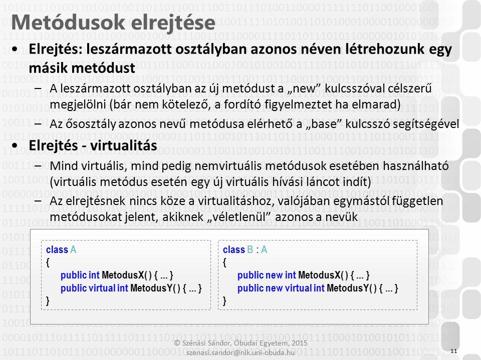 © Szénási Sándor, Óbudai Egyetem, 2015 szenasi.sandor@nik.uni-obuda.hu Elrejtés: leszármazott osztályban azonos néven létrehozunk egy másik metódust –