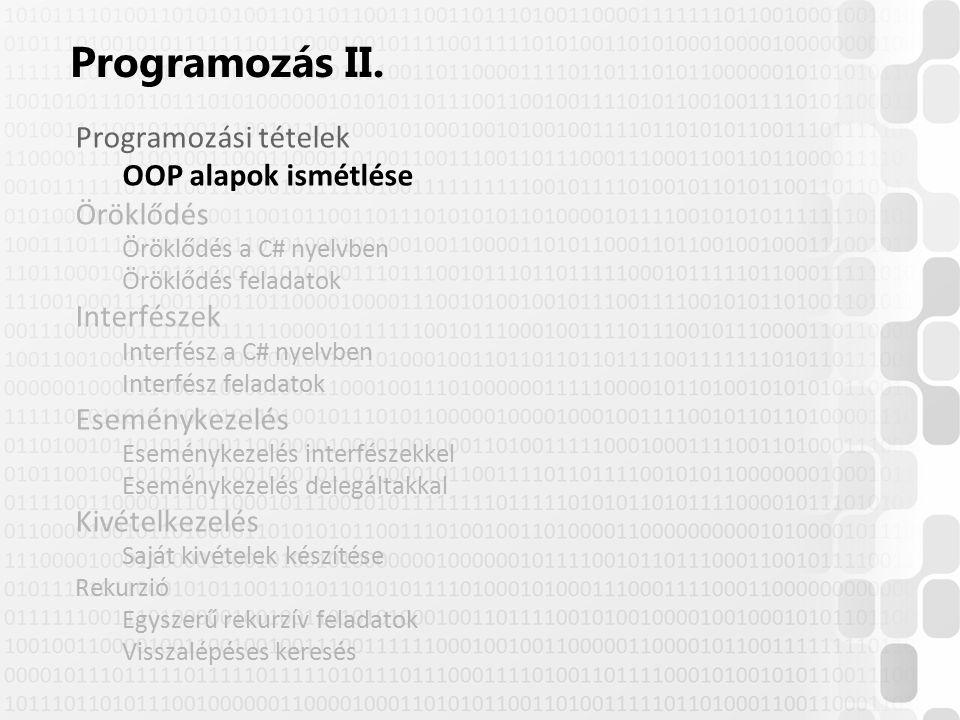 © Szénási Sándor, Óbudai Egyetem, 2015 szenasi.sandor@nik.uni-obuda.hu Implicit interfész megvalósítás –Ha több megvalósított interfész is tartalmaz ugyanolyan metódus szignatúrát (+maga a megvalósító osztály is tartalmazhat ilyen metódust), akkor azok egy metódussal is megvalósíthatók –Ebben az esetben mindegy, hogy melyik referenciával hivatkozunk az objektumra, mindig ez a metódus fog lefutni 23 Implicit interfész megvalósítás interface IFileKezelő { void Töröl( ); } interface IKorrektúra { void Töröl( ); } public class SzövegFile : IFileKezelő, IKorrektúra { public void Töröl( ) { … } }