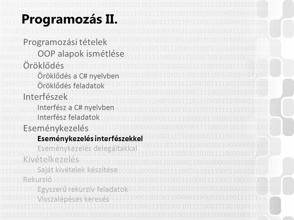Programozás II. Programozási tételek OOP alapok ismétlése Öröklődés Öröklődés a C# nyelvben Öröklődés feladatok Interfészek Interfész a C# nyelvben In