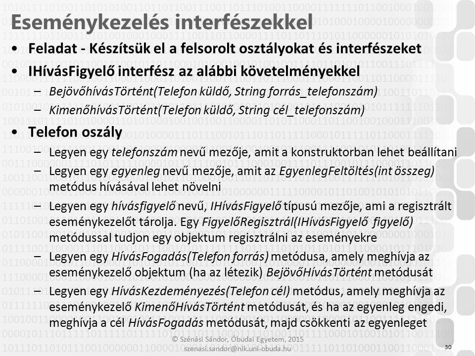 © Szénási Sándor, Óbudai Egyetem, 2015 szenasi.sandor@nik.uni-obuda.hu Feladat - Készítsük el a felsorolt osztályokat és interfészeket IHívásFigyelő i