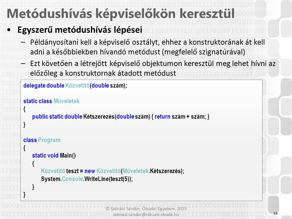 © Szénási Sándor, Óbudai Egyetem, 2015 szenasi.sandor@nik.uni-obuda.hu Egyszerű metódushívás lépései –Példányosítani kell a képviselő osztályt, ehhez