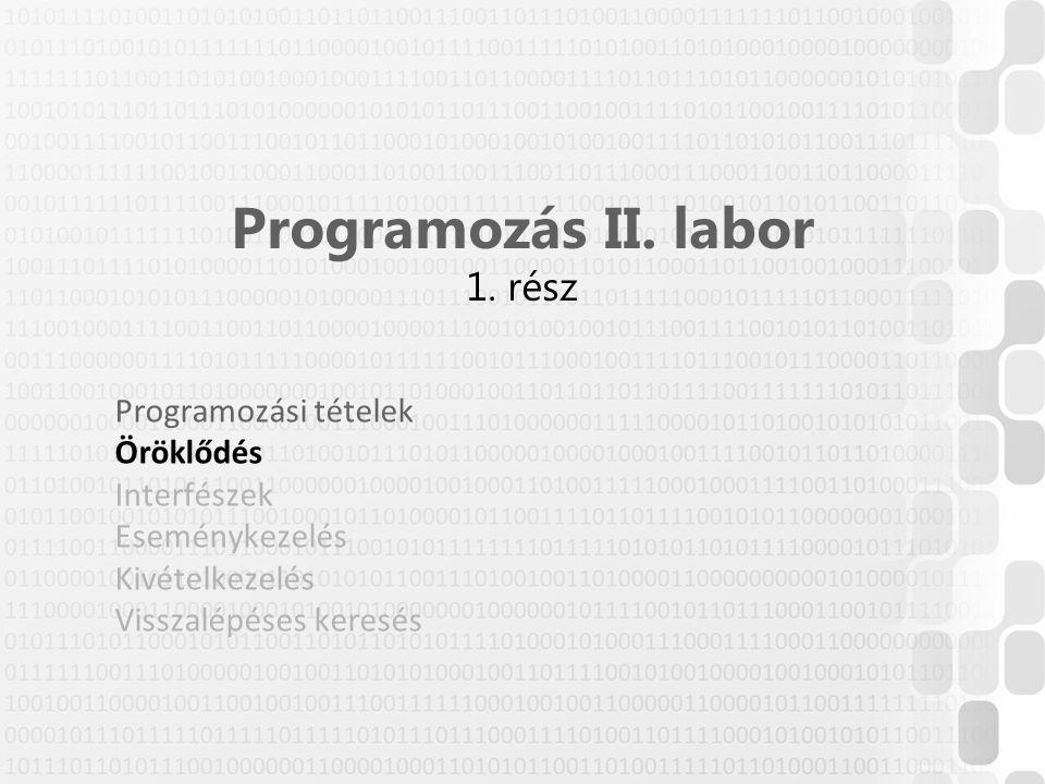 Programozás II. labor 1. rész Programozási tételek Öröklődés Interfészek Eseménykezelés Kivételkezelés Visszalépéses keresés