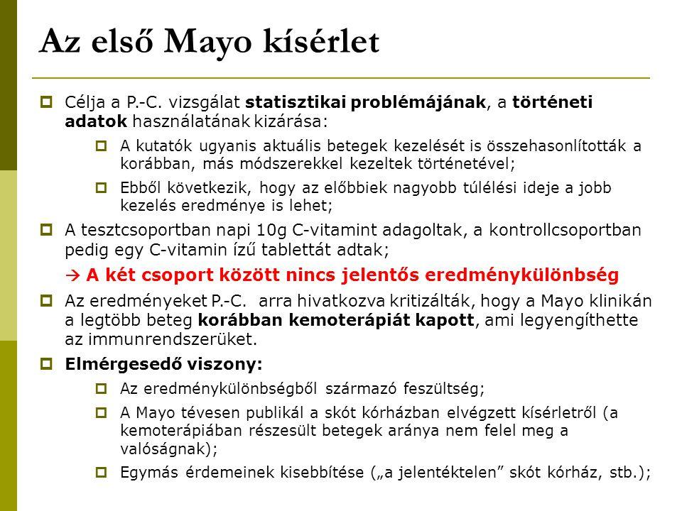 Az első Mayo kísérlet  Célja a P.-C. vizsgálat statisztikai problémájának, a történeti adatok használatának kizárása:  A kutatók ugyanis aktuális be