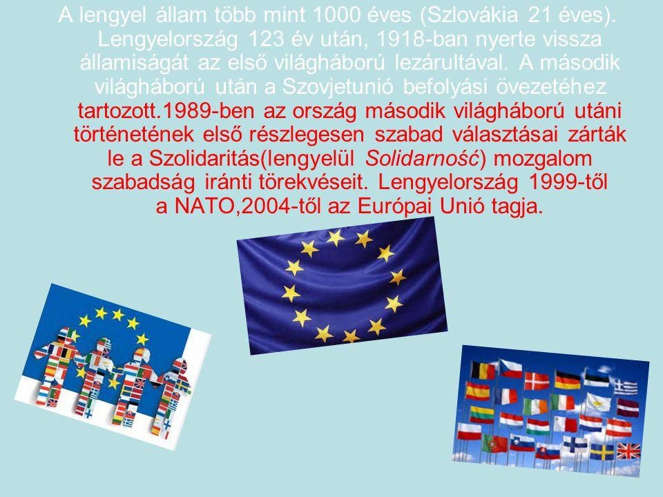 A lengyel állam több mint 1000 éves (Szlovákia 21 éves). Lengyelország 123 év után, 1918-ban nyerte vissza államiságát az első világháború lezárultáva