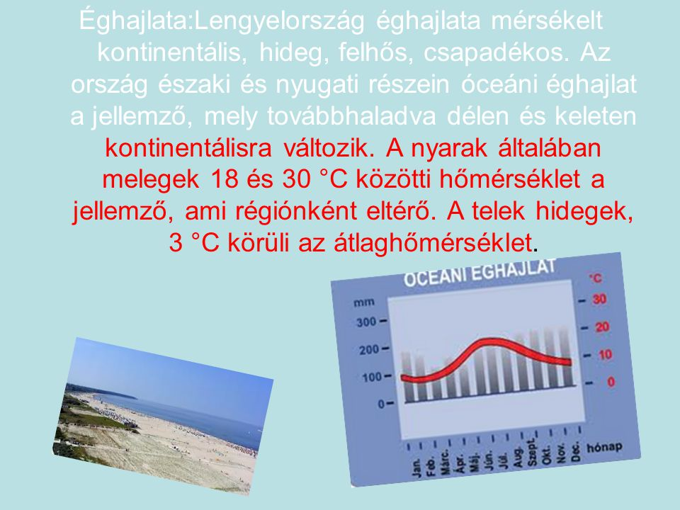 Éghajlata:Lengyelország éghajlata mérsékelt kontinentális, hideg, felhős, csapadékos. Az ország északi és nyugati részein óceáni éghajlat a jellemző,