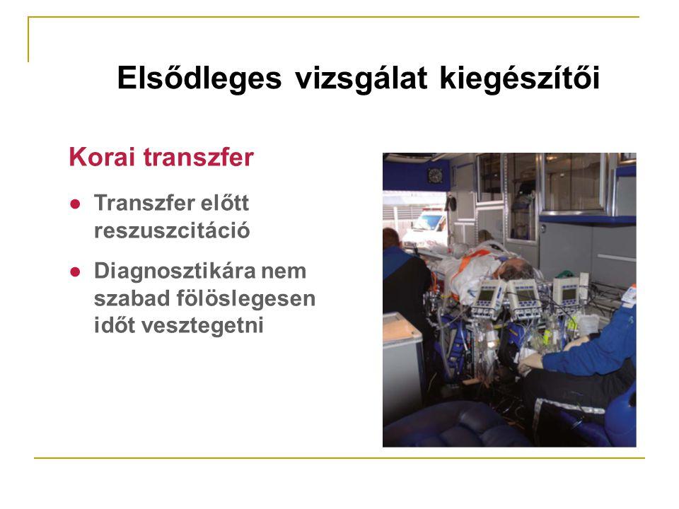 ● Transzfer előtt reszuszcitáció ● Diagnosztikára nem szabad fölöslegesen időt vesztegetni Korai transzfer Elsődleges vizsgálat kiegészítői