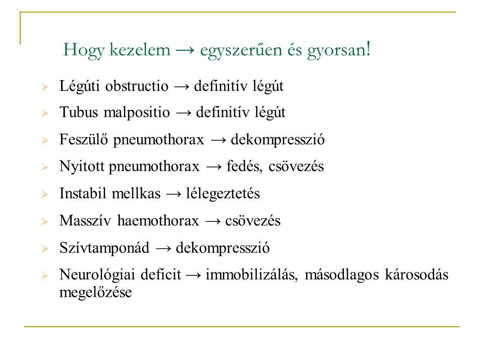 Hogy kezelem → egyszerűen és gyorsan !  Légúti obstructio → definitív légút  Tubus malpositio → definitív légút  Feszülő pneumothorax → dekompressz