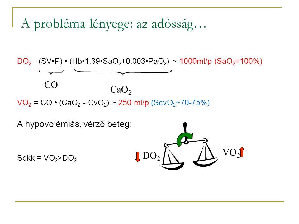 A probléma lényege: az adósság… DO 2 = (SVP) (Hb1.39SaO 2 +0.003PaO 2 ) ~ 1000ml/p (SaO 2 =100%) VO 2 = CO (CaO 2 - CvO 2 ) ~ 250 ml/p (ScvO 2 ~70-75%