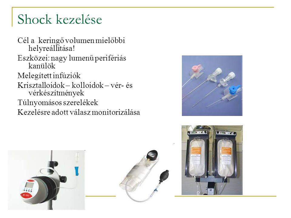 Shock kezelése Cél a keringő volumen mielőbbi helyreállítása! Eszközei: nagy lumenű perifériás kanülök Melegített infúziók Krisztalloidok – kolloidok