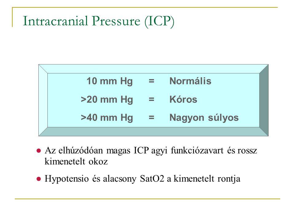 Intracranial Pressure (ICP) ●Az elhúzódóan magas ICP agyi funkciózavart és rossz kimenetelt okoz ●Hypotensio és alacsony SatO2 a kimenetelt rontja 10
