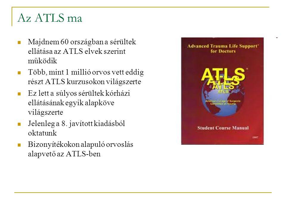 Az ATLS ma Majdnem 60 országban a sérültek ellátása az ATLS elvek szerint működik Több, mint 1 millió orvos vett eddig részt ATLS kurzusokon világszer