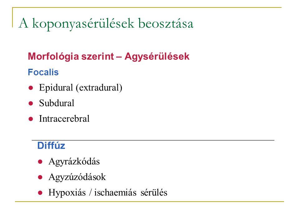 A koponyasérülések beosztása Focalis ●Epidural (extradural) ●Subdural ●Intracerebral Morfológia szerint – Agysérülések Diffúz ●Agyrázkódás ●Agyzúzódás