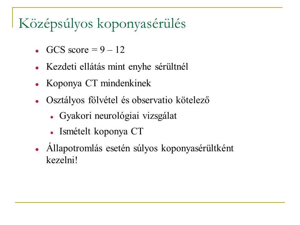 Középsúlyos koponyasérülés ● GCS score = 9 – 12 ● Kezdeti ellátás mint enyhe sérültnél ● Koponya CT mindenkinek ● Osztályos fölvétel és observatio köt