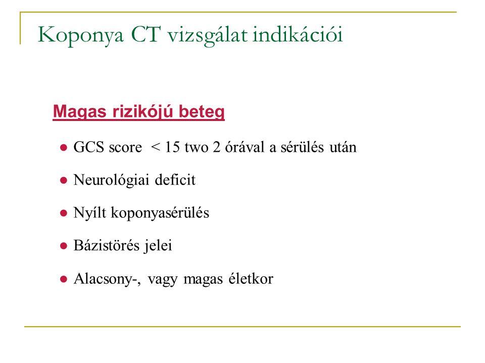●GCS score < 15 two 2 órával a sérülés után ●Neurológiai deficit ●Nyílt koponyasérülés ●Bázistörés jelei ●Alacsony-, vagy magas életkor Magas rizikójú
