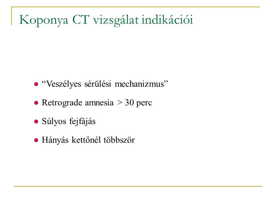 """Koponya CT vizsgálat indikációi ●""""Veszélyes sérülési mechanizmus"""" ●Retrograde amnesia > 30 perc ●Súlyos fejfájás ●Hányás kettőnél többször Közepes riz"""