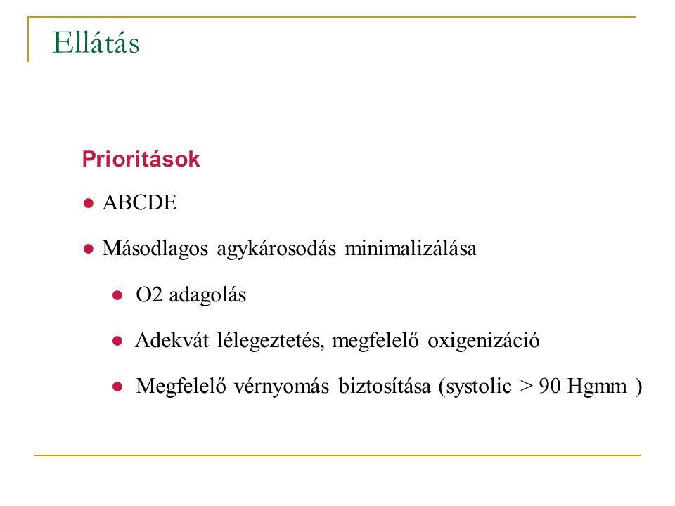 Ellátás Prioritások ●ABCDE ●Másodlagos agykárosodás minimalizálása ● O2 adagolás ● Adekvát lélegeztetés, megfelelő oxigenizáció ● Megfelelő vérnyomás