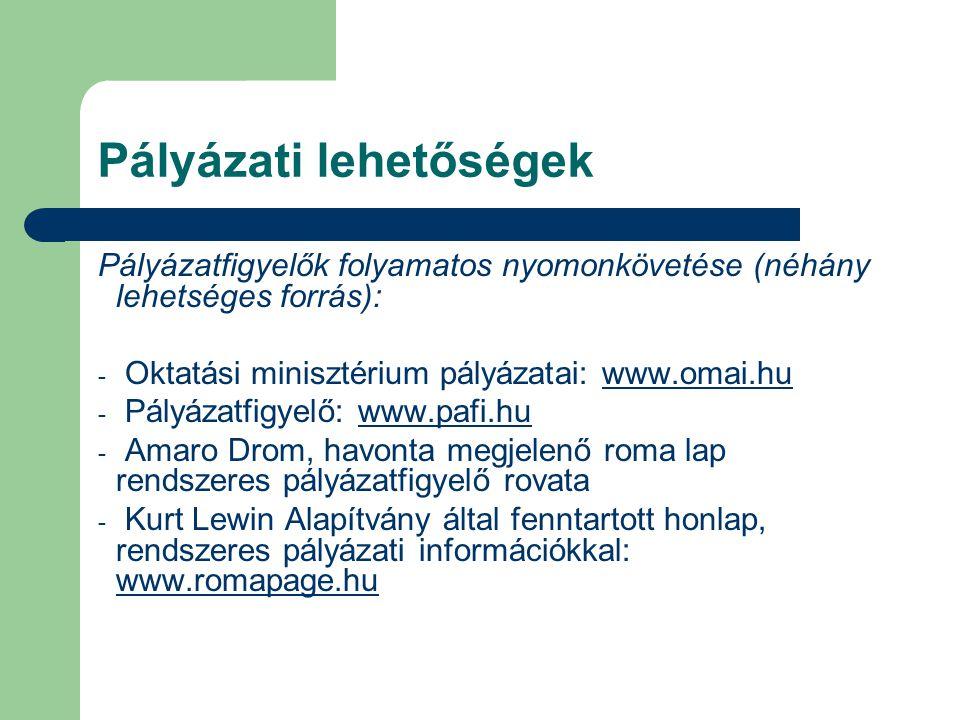 Pályázati lehetőségek Pályázatfigyelők folyamatos nyomonkövetése (néhány lehetséges forrás): - Oktatási minisztérium pályázatai: www.omai.huwww.omai.h