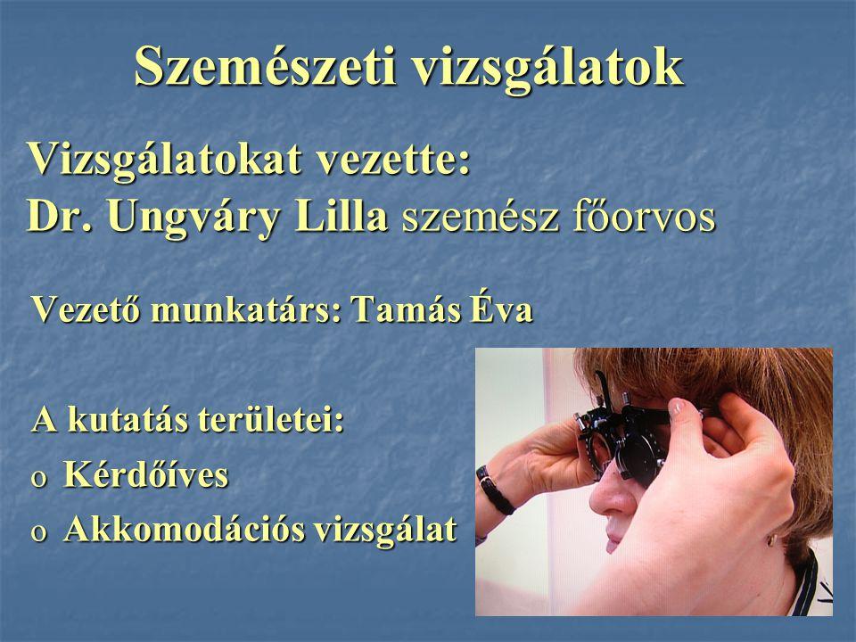 Vizsgálatokat vezette: Dr. Ungváry Lilla szemész főorvos Vezető munkatárs: Tamás Éva A kutatás területei: o Kérdőíves o Akkomodációs vizsgálat Szemész