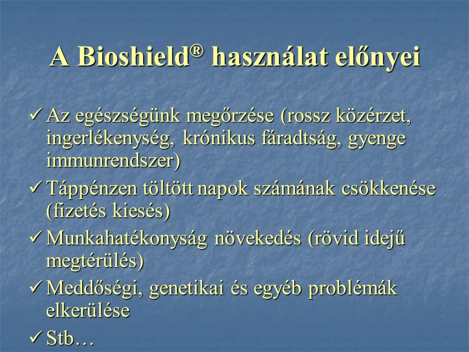 A Bioshield ® használat előnyei Az egészségünk megőrzése (rossz közérzet, ingerlékenység, krónikus fáradtság, gyenge immunrendszer) Az egészségünk meg