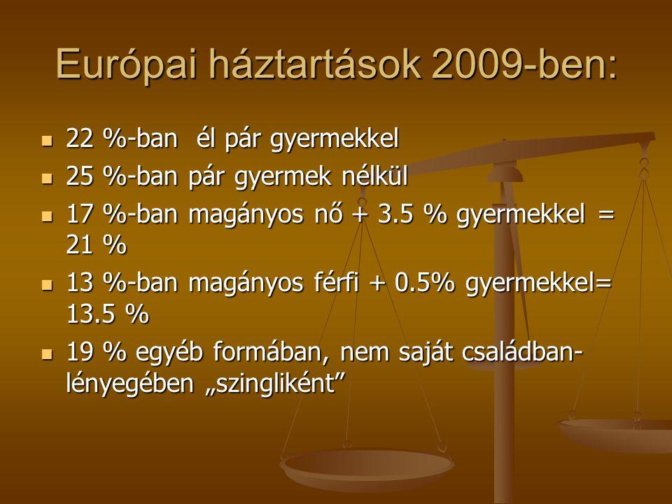 Európai háztartások 2009-ben: 22 %-ban él pár gyermekkel 22 %-ban él pár gyermekkel 25 %-ban pár gyermek nélkül 25 %-ban pár gyermek nélkül 17 %-ban m