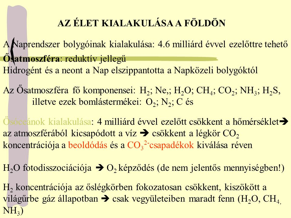 Légköri elektromos jelenségek és a Napból jövő folyamatos energiaáram és az UV sugárzás hatására szerves vegyületek keletkeztek Miller (1953) kísérlete: az őslégkörhöz hasonló körülmények között Laboratóriumban aminósavakat (alanin, glicin, glutaminsav) és egyéb egyszerű szerves vegyületeket állított elő Az ősi Földön prebiotikus körülmények között szénhidrátok, szerves savak, nukleotidok, szerves bázisok jöttek létre, melyek polimerjeinek nagy jelentősége van az élet kialakulása szempontjából random polipeptidek A polimerek random polipeptidek, már enzimaktivitással rendelkeztek.