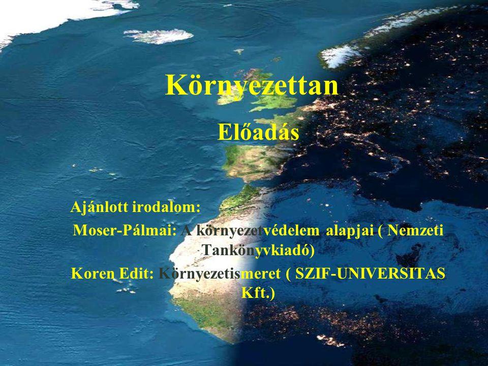 Környezettan Előadás Ajánlott irodalom: Moser-Pálmai: A környezetvédelem alapjai ( Nemzeti Tankönyvkiadó) Koren Edit: Környezetismeret ( SZIF-UNIVERSI