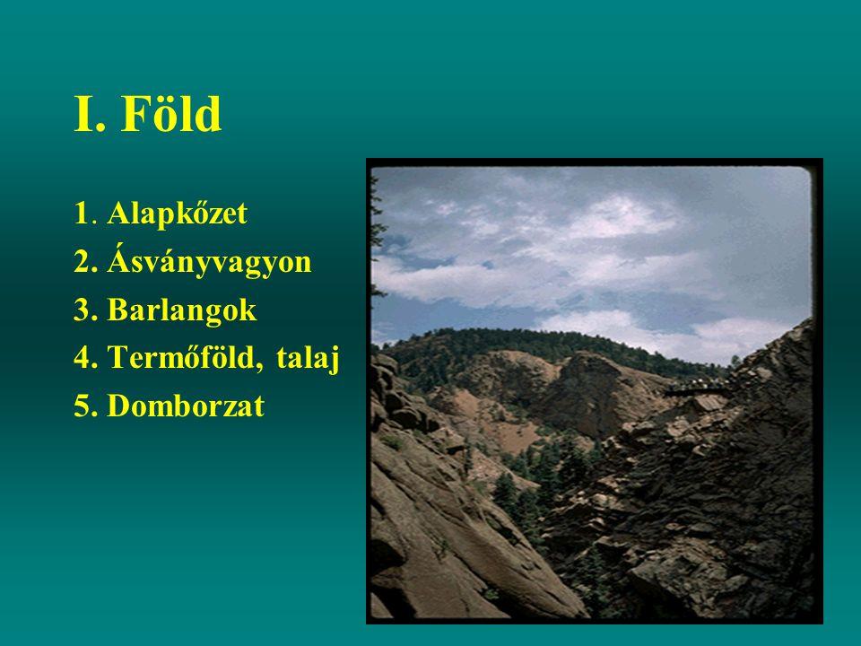I. Föld 1. Alapkőzet 2. Ásványvagyon 3. Barlangok 4. Termőföld, talaj 5. Domborzat