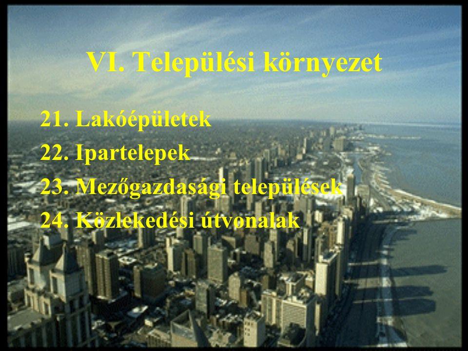 VI. Települési környezet 21. Lakóépületek 22. Ipartelepek 23. Mezőgazdasági települések 24. Közlekedési útvonalak