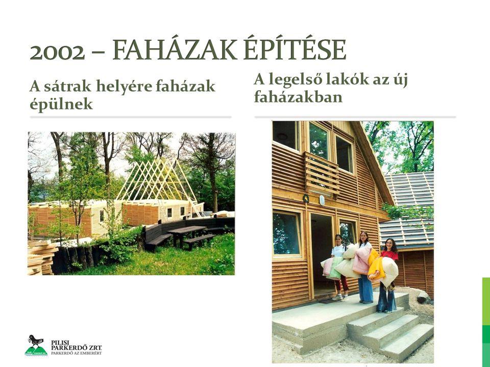 A sátrak helyére faházak épülnek A legelső lakók az új faházakban