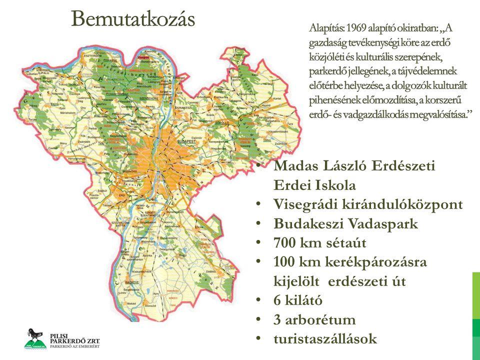 Madas László Erdészeti Erdei Iskola Visegrádi kirándulóközpont Budakeszi Vadaspark 700 km sétaút 100 km kerékpározásra kijelölt erdészeti út 6 kilátó 3 arborétum turistaszállások
