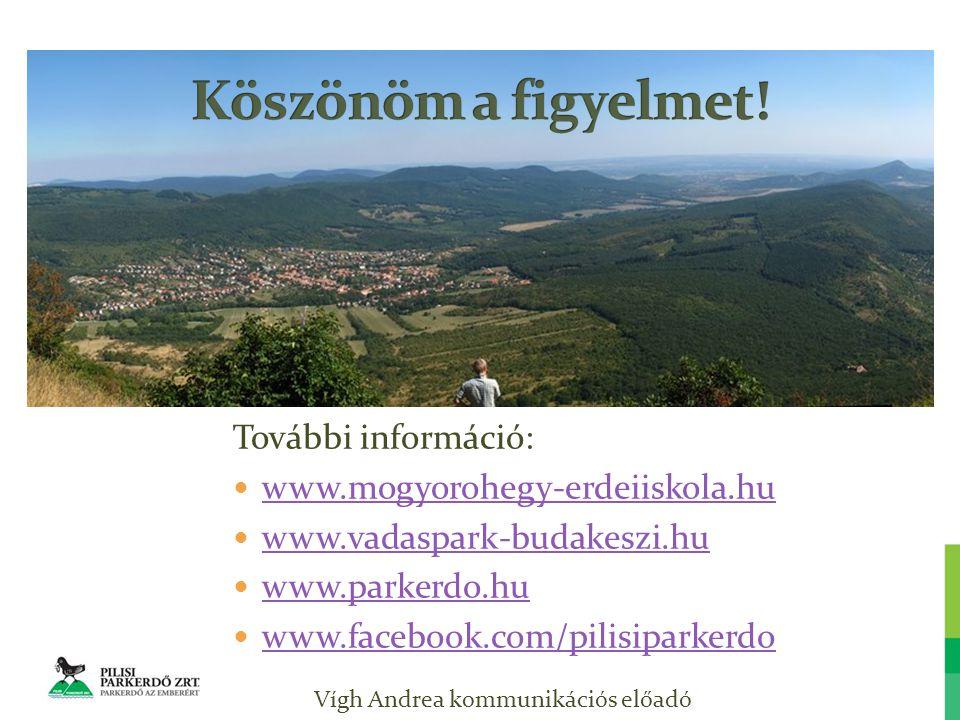 Vígh Andrea kommunikációs előadó További információ: www.mogyorohegy-erdeiiskola.hu www.vadaspark-budakeszi.hu www.parkerdo.hu www.facebook.com/pilisiparkerdo