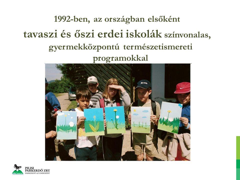 1992-ben, az országban elsőként tavaszi és őszi erdei iskolák színvonalas, gyermekközpontú természetismereti programokkal