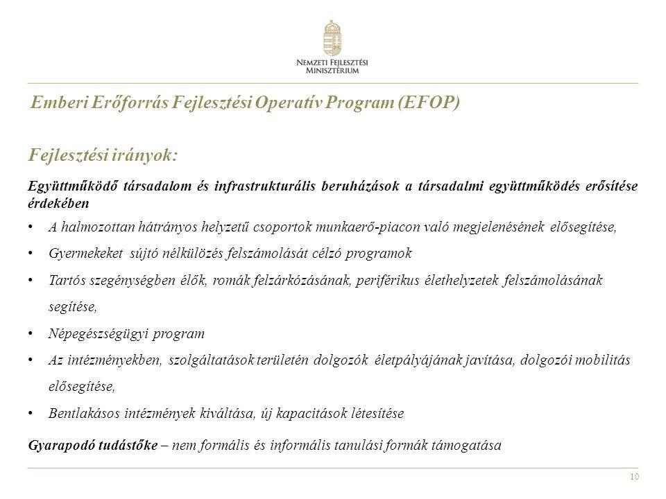 10 Emberi Erőforrás Fejlesztési Operatív Program (EFOP) Fejlesztési irányok: Együttműködő társadalom és infrastrukturális beruházások a társadalmi egy