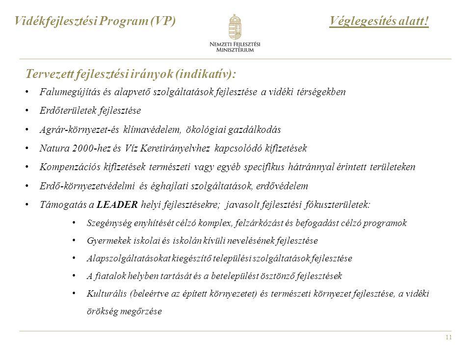 11 Vidékfejlesztési Program (VP) Tervezett fejlesztési irányok (indikatív): Falumegújítás és alapvető szolgáltatások fejlesztése a vidéki térségekben