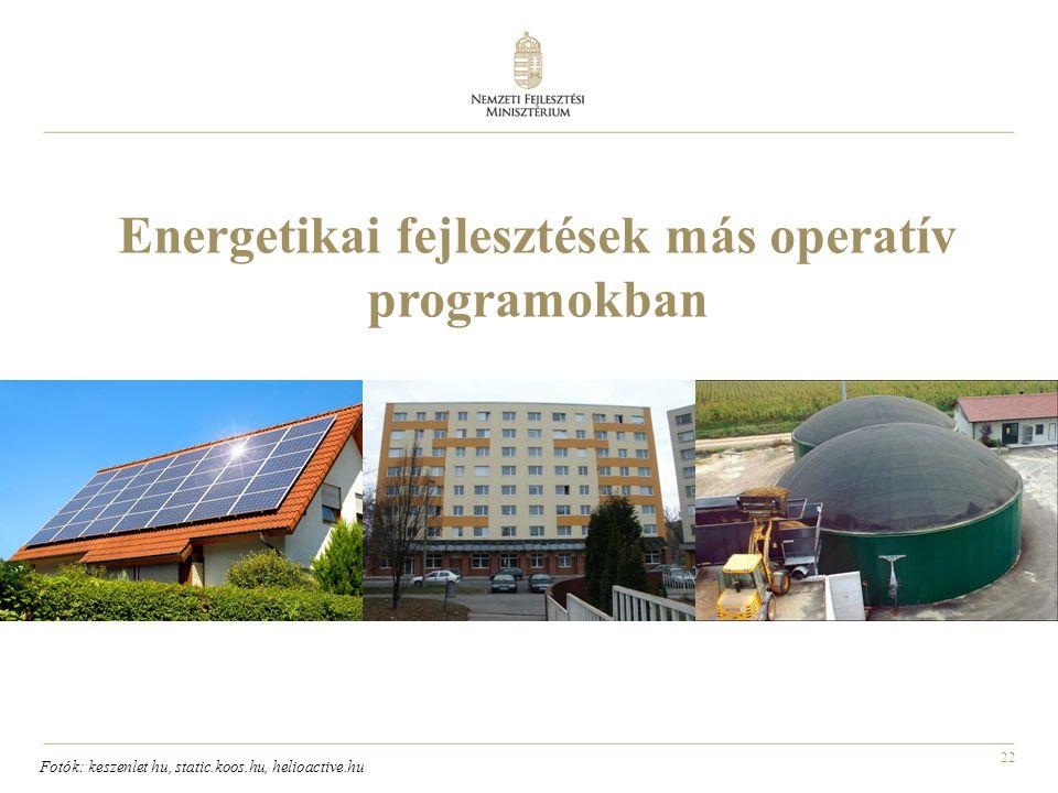 22 Energetikai fejlesztések más operatív programokban Fotók: keszenlet hu, static.koos.hu, helioactive.hu