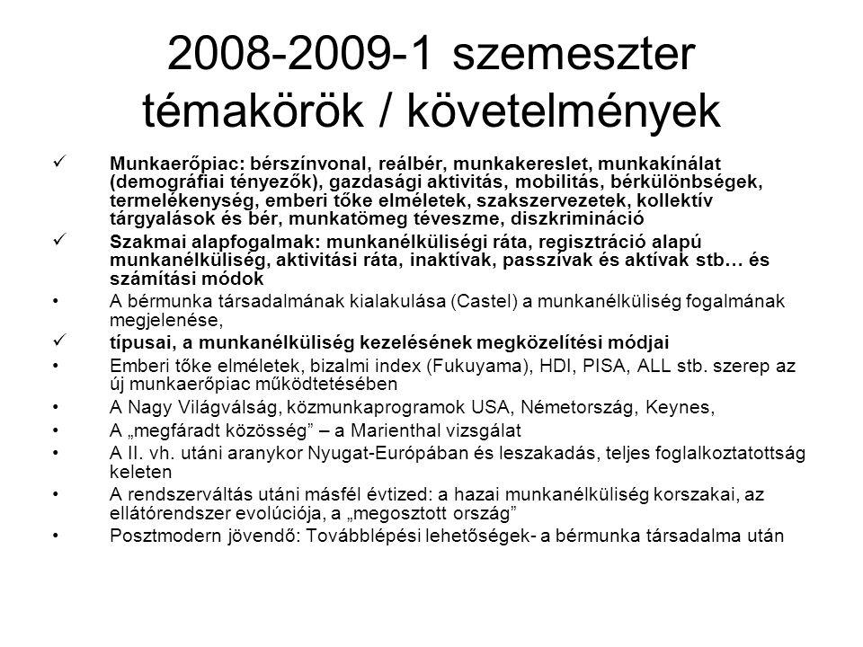 2008-2009-1 szemeszter témakörök / követelmények Munkaerőpiac: bérszínvonal, reálbér, munkakereslet, munkakínálat (demográfiai tényezők), gazdasági ak