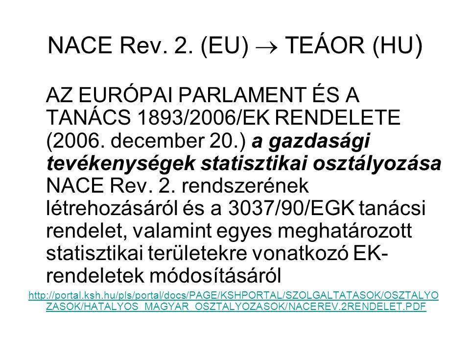 NACE Rev. 2. (EU)  TEÁOR (HU ) AZ EURÓPAI PARLAMENT ÉS A TANÁCS 1893/2006/EK RENDELETE (2006. december 20.) a gazdasági tevékenységek statisztikai os