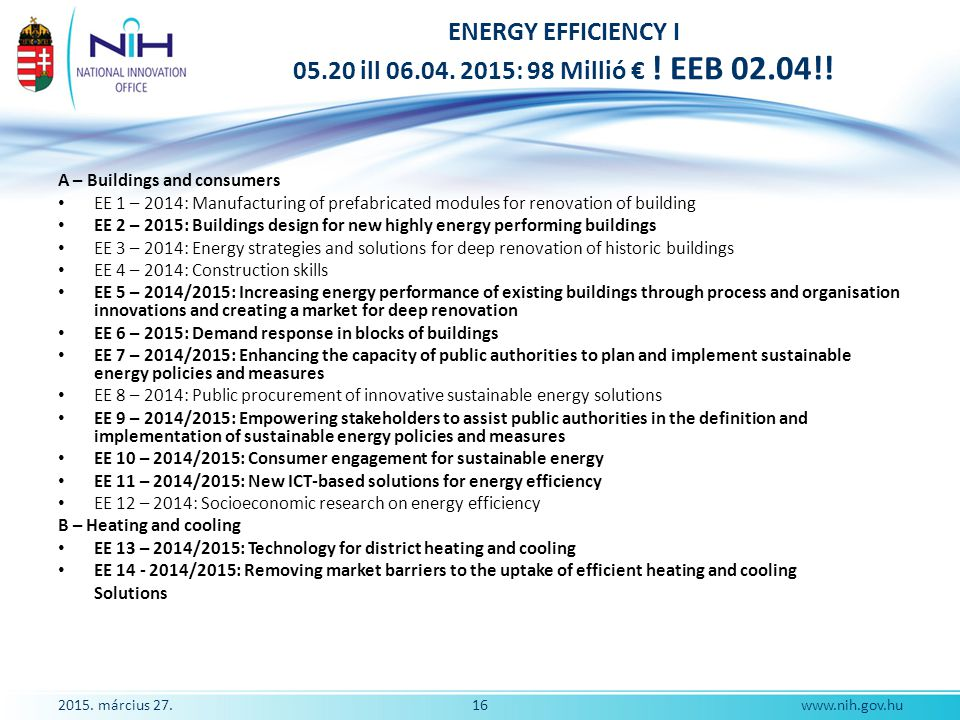 2015. március 27.16www.nih.gov.hu ENERGY EFFICIENCY I 05.20 ill 06.04. 2015: 98 Millió € ! EEB 02.04!! A – Buildings and consumers EE 1 – 2014: Manufa