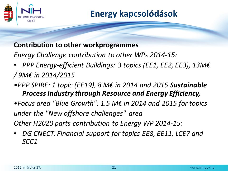 2015. március 27.21www.nih.gov.hu Energy kapcsolódások Contribution to other workprogrammes Energy Challenge contribution to other WPs 2014-15: PPP En
