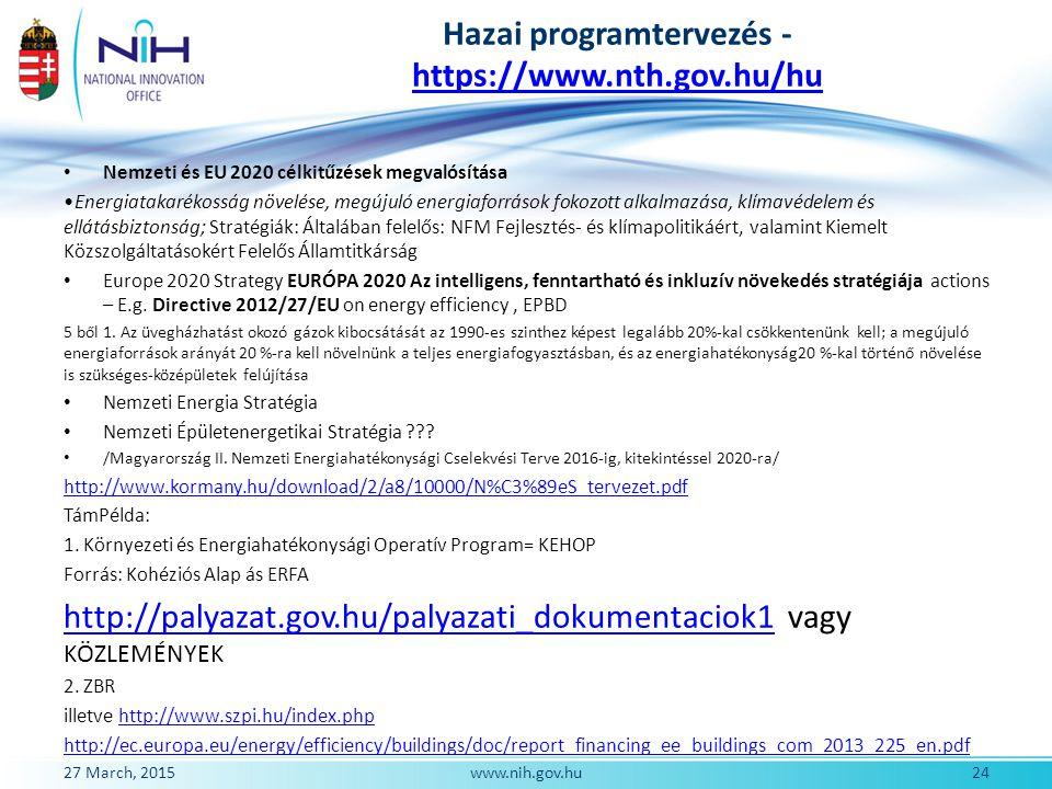 Hazai programtervezés - https://www.nth.gov.hu/hu https://www.nth.gov.hu/hu Nemzeti és EU 2020 célkitűzések megvalósítása Energiatakarékosság növelése
