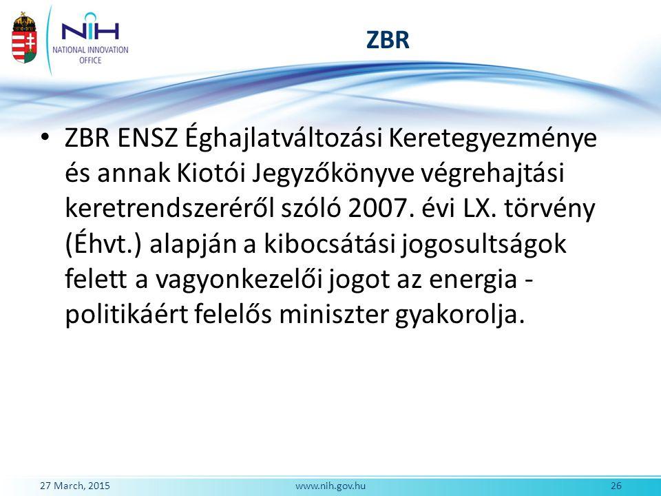 ZBR ZBR ENSZ Éghajlatváltozási Keretegyezménye és annak Kiotói Jegyzőkönyve végrehajtási keretrendszeréről szóló 2007. évi LX. törvény (Éhvt.) alapján